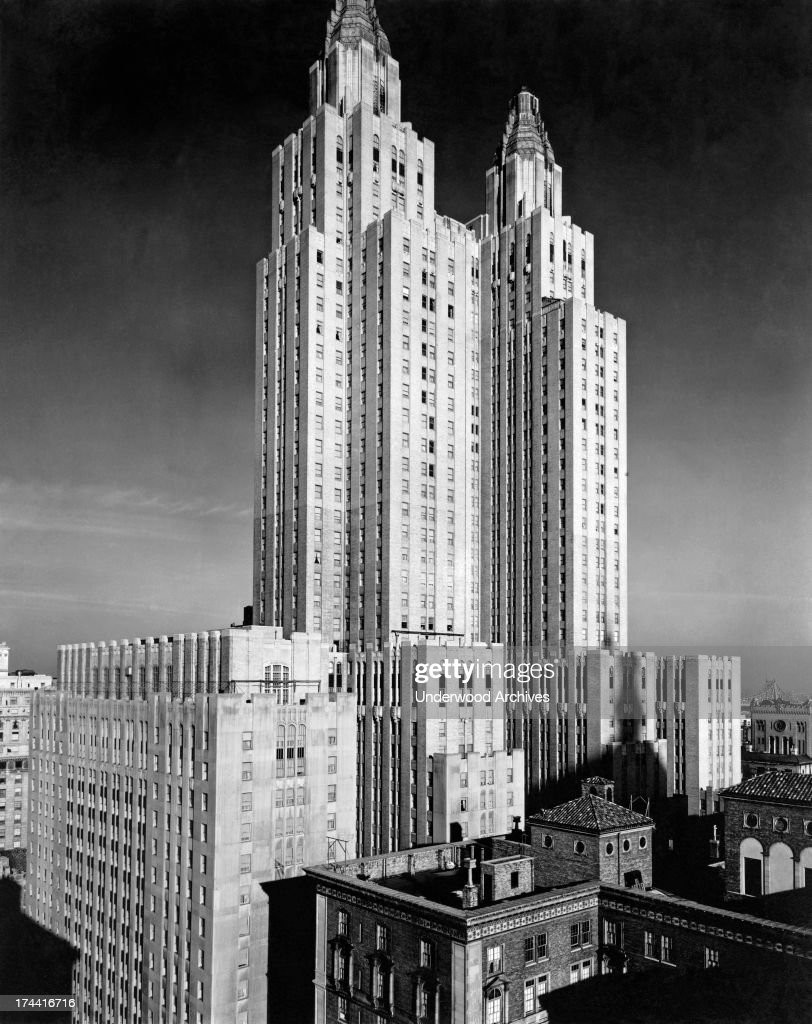 The Waldorf-Astoria Hotel and Towers rise into the sky in Midtown Manhattan, New York, 1931. The hyphen was iconic, with savvy New Yorkers choosing to 'meet at the hyphen' for their rendevous.