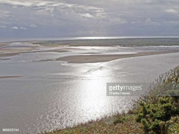 The Wales Coast Path in Carmarthenshire: sandbanks in the Taff estuary