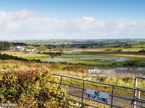 The Wales Coast Path in Carmarthenshire: view to St Clears and the River Taff.