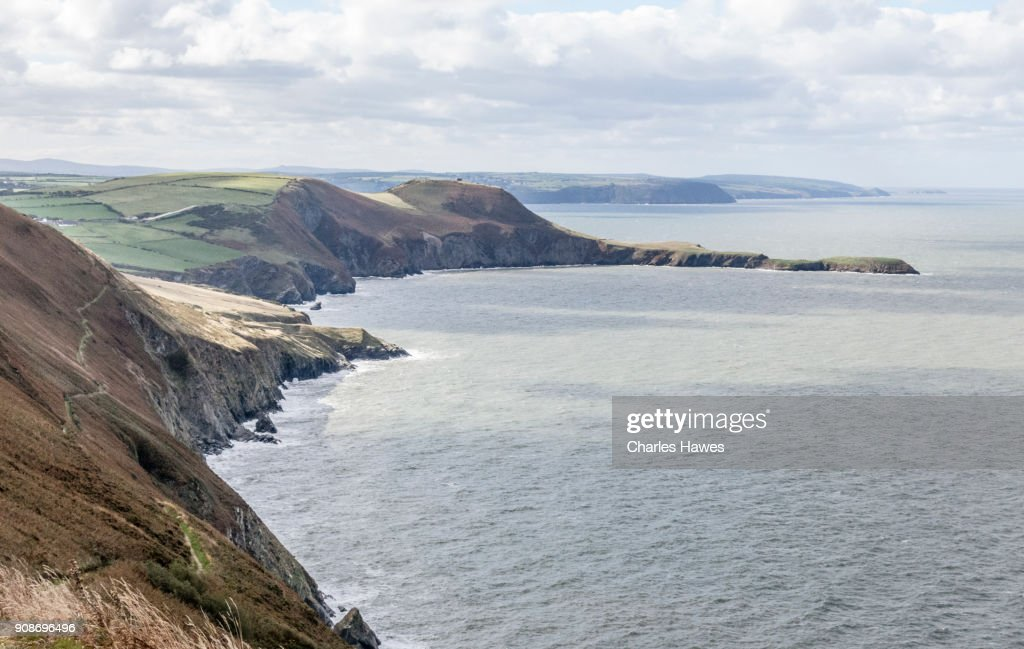 The Wales Coast Path in Ceredigion between Cardigan and Borth : Stock Photo