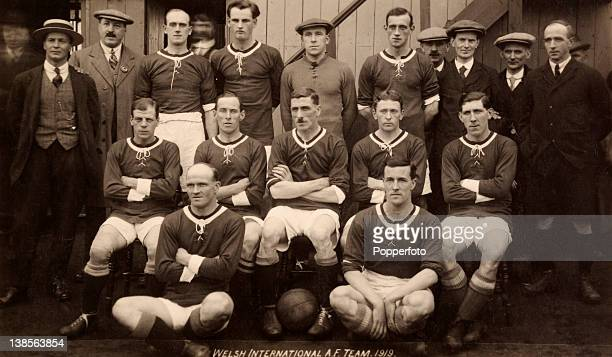 The Wales football team prior to their International match against England at Cardiff 11th October 1919 Wales won 21 Back row GLatham HGriffiths Joe...