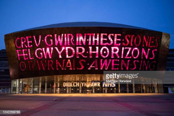 The Wales Millennium Centre is illuminated with purple lighting in recognition of the death of George Floyd on June 2 in Cardiff Wales The death of...