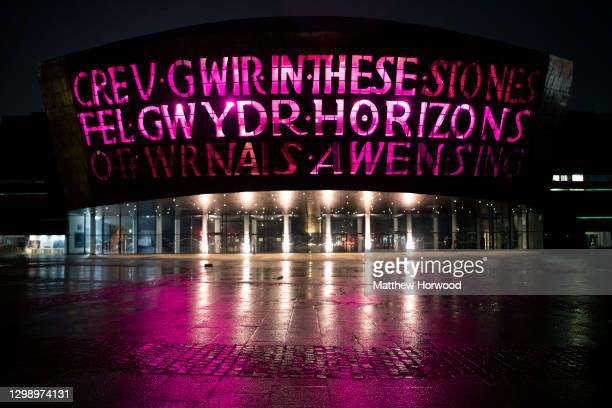 The Wales Millennium Centre is lit to mark Holocaust Memorial Day on January 27, 2021 in Cardiff, Wales. Holocaust Memorial Day is an international...