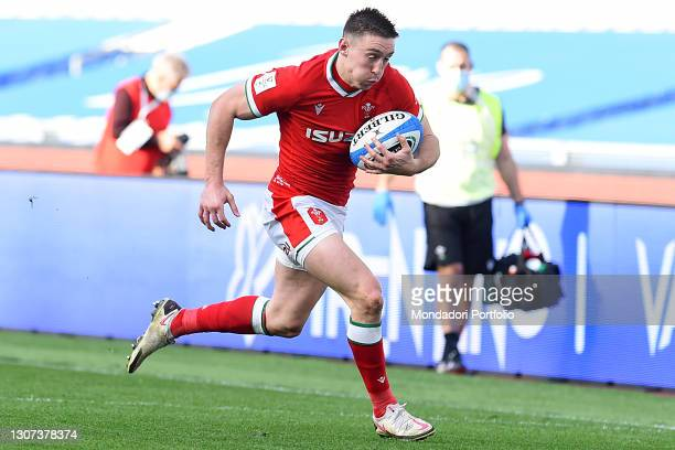 The Wales player Josh Adams during the Italy-Wales match of the Six Nations tournament at the stadio Olimpico. Rome , 13 March, 2021