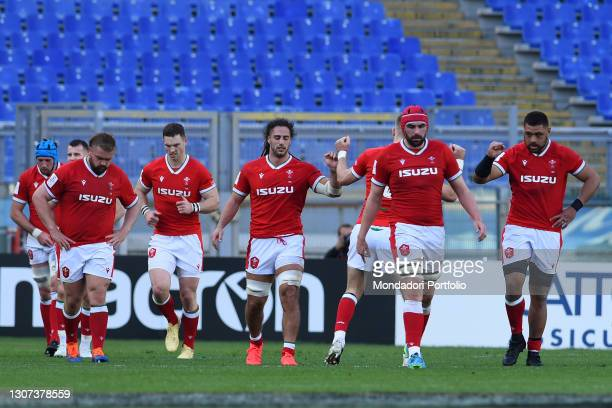 The Wales players celebrating during the Italy-Wales match of the Six Nations tournament at the stadio Olimpico. Rome , 13 March, 2021