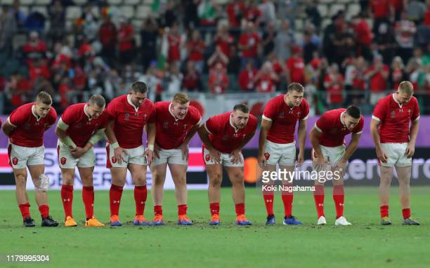 The Wales players show appreciation to the fans following the Rugby World Cup 2019 Group D game between Wales and Fiji at Oita Stadium on October 09...