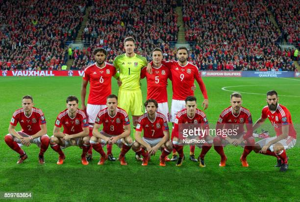 The Wales pre match team photo Ashley Williams Wayne Hennessey James Chester Hal RobsonKanu Chris Gunter Ben Davies Andy King Joe Allen Tom Lawrence...