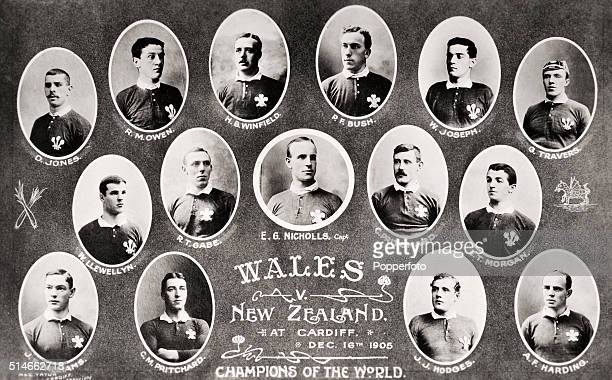 The Wales rugby union team which played New Zealand at Cardiff in what has been described as 'the greatest game ever played' on 16th December 1905...