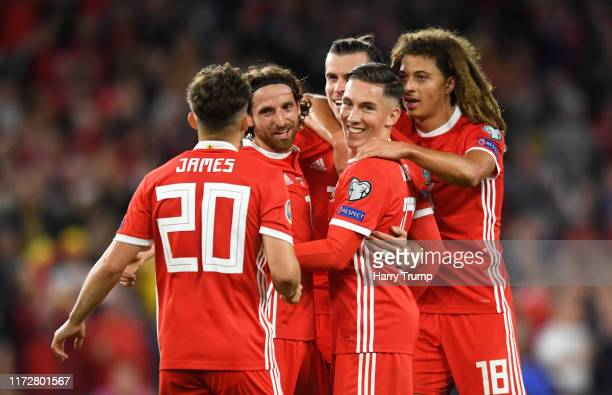 The Wales side celebrate their sides first goal an own goal scored by Pavlo Pashayev of Azerbaijan during the UEFA Euro 2020 qualifier between Wales...