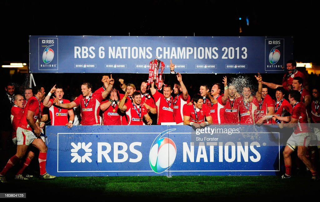 The Wales team celebrate winning the Championship after the RBS Six Nations match between Wales and England at Millennium Stadium on March 16, 2013 in Cardiff, Wales.