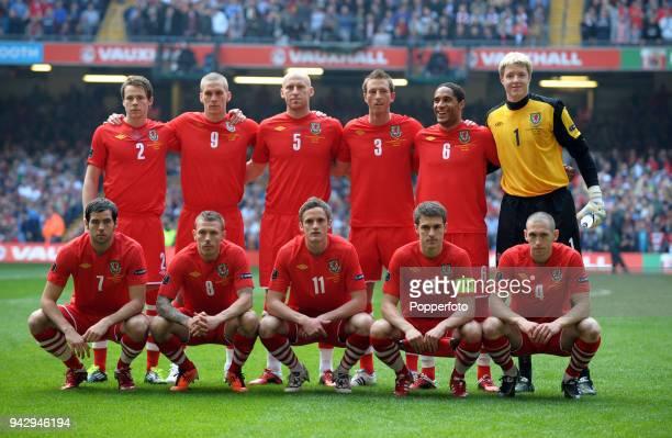 The Wales team Chris Gunter Steve Morison James Collins Danny Collins Ashley Williams Wayne Hennessey Joe Ledley Craig Bellamy Andy King Aaron Ramsey...