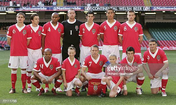 The Wales team line up before the EURO 2008 Group D qualifying match between Wales and Slovakia at The Millennium Stadium on October 7 2006 in...