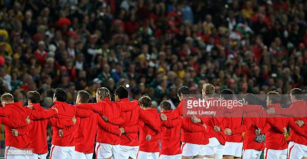 The Wales team line up for the national anthem prior to kickoff during the 2011 IRB Rugby World Cup bronze final match between Wales and Australia at...