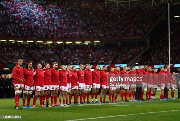 The Wales Team line up for the National Anthem prior to the Under Armour Summer Series match between Wales and England at Principality Stadium on...