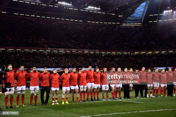 The Wales team line up for the national anthems at the start of the Six Nations international rugby union match between Wales and France at the...
