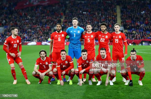 The Wales team line up prior to during the UEFA Nations League Group B match between Wales and Denmark at Cardiff City Stadium on November 16 2018 in...