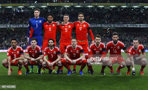 The Wales team line up prior to the FIFA 2018 World Cup Qualifier between Republic of Ireland and Wales at Aviva Stadium on March 24 2017 in Dublin...