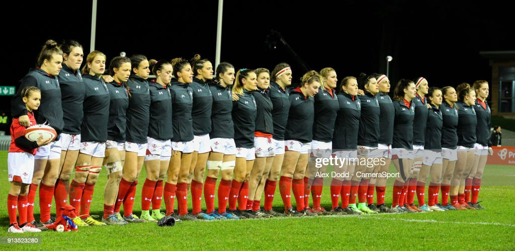 The Wales team lines up before the match during the Women's Six Nations Championships Round 1 match between Wales Women and Scotland Women at Eirias Stadium on February 2, 2018 in Colwyn Bay, Wales.