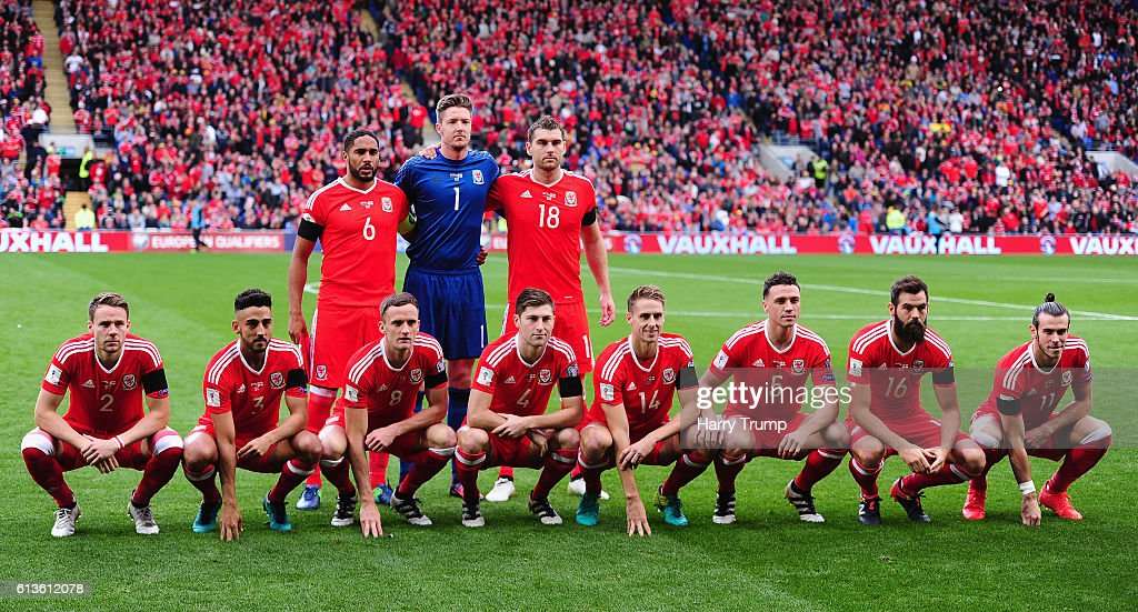 The Wales team pose for a photograph during the 2018 FIFA World Cup Qualifier between Wales and Georgia at the Cardiff City Stadium on October 9, 2016 in Cardiff, Wales.
