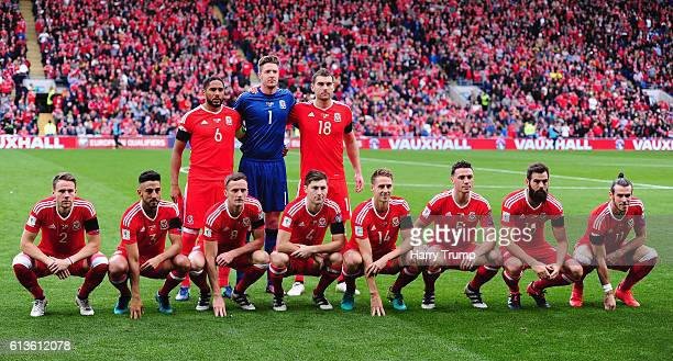 The Wales team pose for a photograph during the 2018 FIFA World Cup Qualifier between Wales and Georgia at the Cardiff City Stadium on October 9 2016...