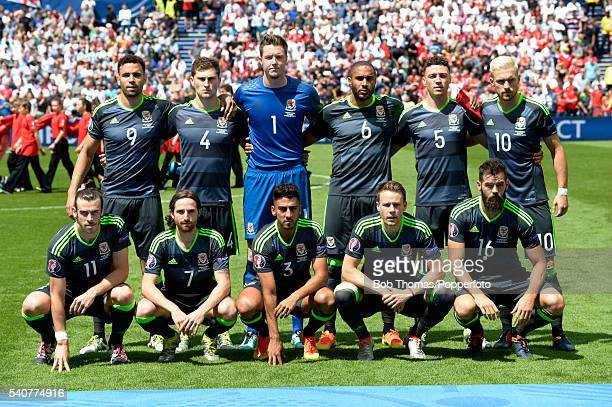 The Wales team pose for a team group before the UEFA EURO 2016 Group B match between England and Wales at Stade BollaertDelelis on June 16 2016 in...