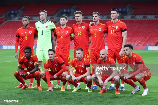 The Wales team poses for a team photo ahead of the international friendly match between England and Wales at Wembley Stadium on October 08, 2020 in...