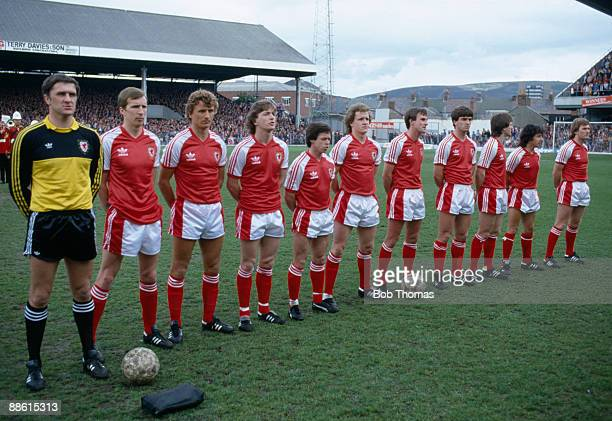 The Wales team prior to the British Championship match against Scotland at the Vetch Field Stadium in Swansea 16th May 1981 Wales won 20 Leftright...