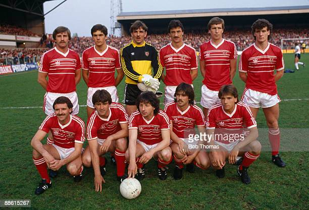 The Wales team prior to their 10 victory over England in the British Championship at the Racecourse Ground in Wrexham 2nd May 1984 Back row leftright...