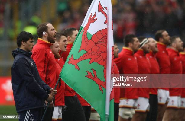 The Wales team sing their national anthem prior to kickoff during the RBS Six Nations match between Italy and Wales at the Stadio Olimpico on...