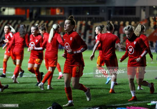 The Wales team warms up ahead of the UEFA Women's EURO 2022 Qualifier between Wales Women and Belarus Women at Rodney Parade on December 01, 2020 in...