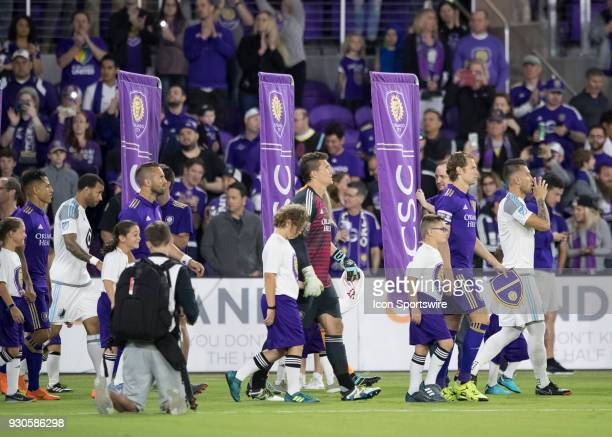 the walk out during the MLS Soccer match between Orlando City SC and Minnesota United FC on March 10th 2018 at Orlando City Stadium in Orlando FL