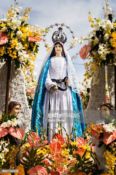 The 'Walk with Mary' procession in Cebu Philippines January 13 2012 The 'Mary' seen on the float is Our Lady of Guidance traditionally housed in the...