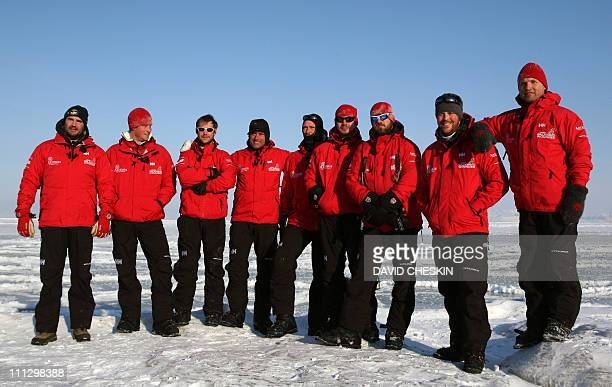 The Walk with the Wounded team Henry Cookson Britain's Prince Harry Guy Disney Simon Daglish Edward Parker Jaco Van Gass Martin Hewitt Steven Young...