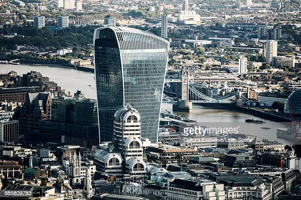 The Walkie Talkie and Tower Bridge along the River Thames, London, England, UK