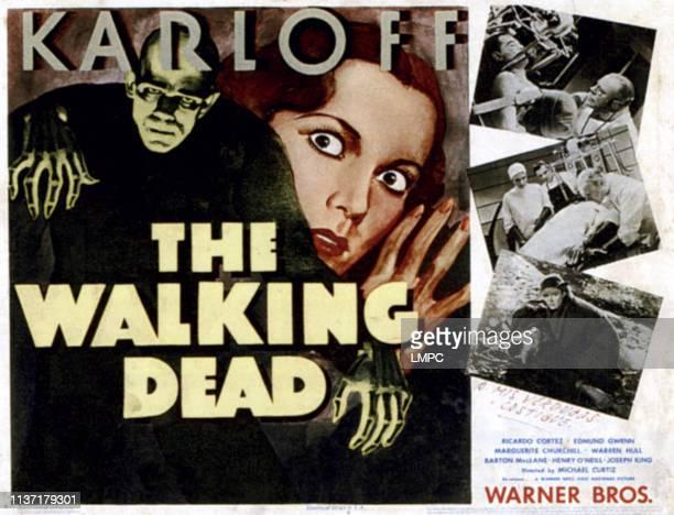 The Walking Dead lobbycard left from left Boris Karloff Marguerite Churchill right top Boris Karloff Marguerite Churchill Edmund Gwenn right bottom...