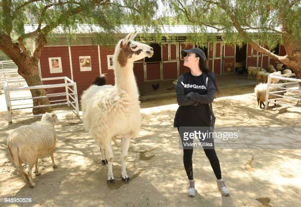 The Walking Dead's Christian Serratos visits rescued farm animals at The Gentle Barn Sanctuary on April 13 2018 in Santa Clarita California