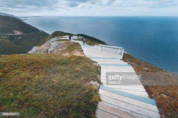 the walkway of skyline, cape breton highlands national park. - cape breton island stock pictures, royalty-free photos & images