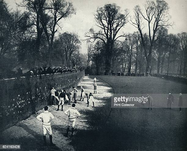 The Wall' 1926 Eton wall game is played on a strip of ground 5 metres by 110 metres next to a slightly curved brick wall erected in 1717 From Eton...