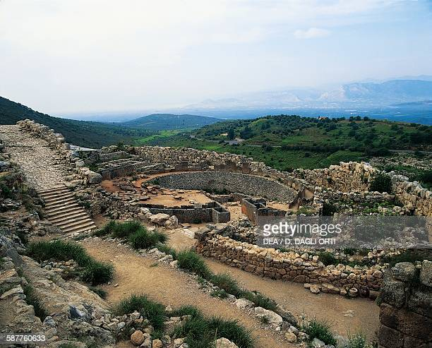The wall around the tombs of Grave Circle A 15501500 BC Mycenae Greece Mycenaean civilisation 16th century BC