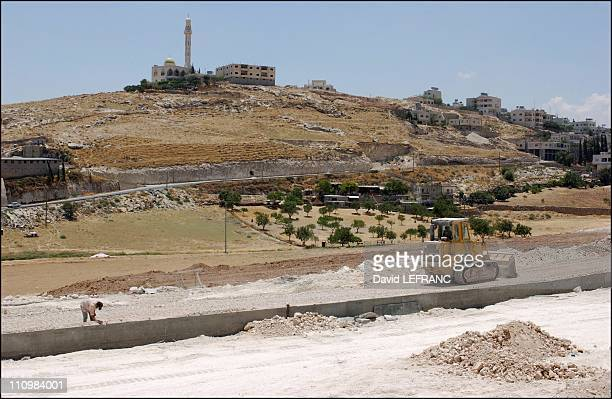 The 'wall' building site east of Bethlehem See full caption in attached text in Israel in July 2003