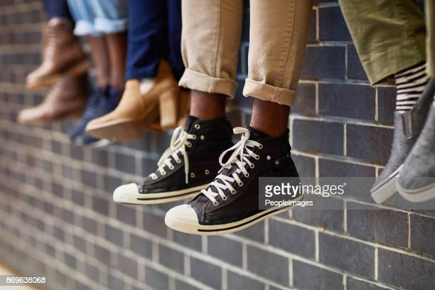 the wall is where we like to chill out - black shoe stock pictures, royalty-free photos & images