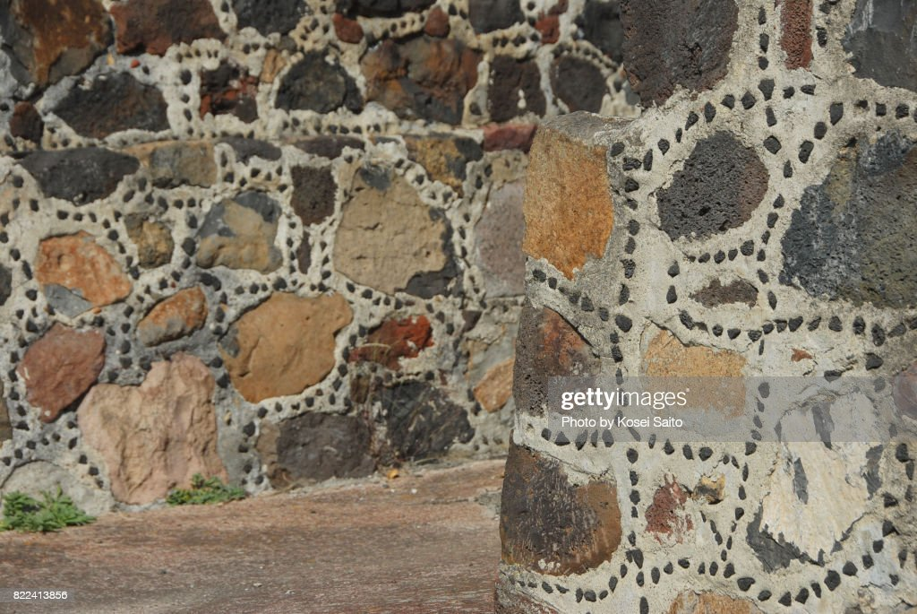 The wall of At Pre-Hispanic City of Teotihuacan. : Foto de stock