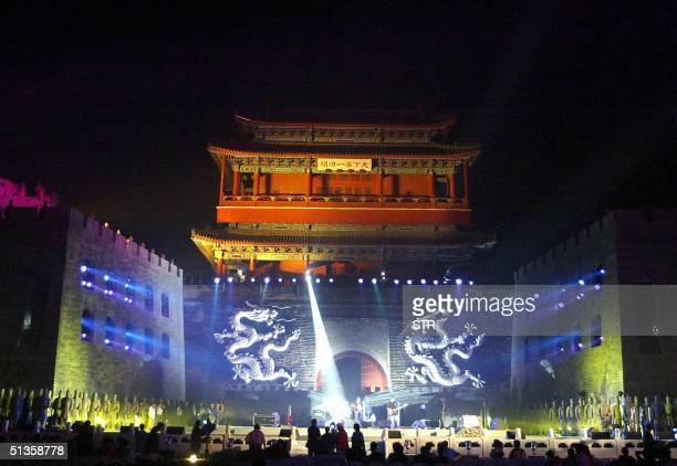 The 'Wall of Hope' concert on the Great Wall of China at the Juyongguan Pass during rehearsal in the north of Beijing 24 September 2004 The concert...