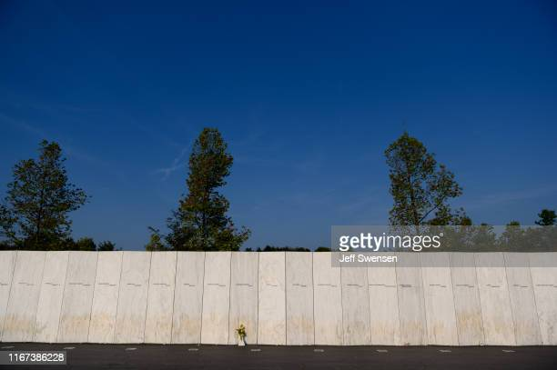 The Wall of Names at the Flight 93 National Memorial on September 11 2019 in Shanksville Pennsylvania Today marks the 18th anniversary of the...
