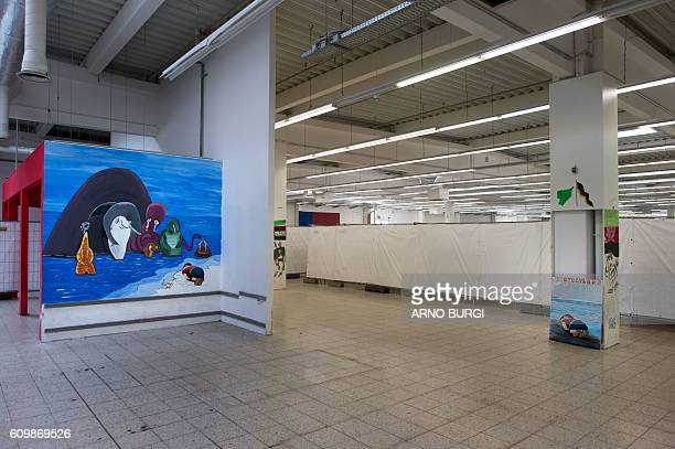 The wall painting made in 2015 by the Syrian refugee, W. Bordany, with the figure of the dead Syrian refugee child Aylan Kurdi is pictured at the...