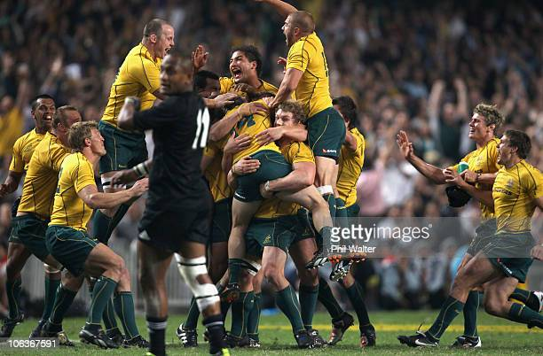 The Wallabies celebrate their win in the 2010 TriNations Bledisloe Cup match between the New Zealand All Blacks and the Australian Wallabies at Hong...