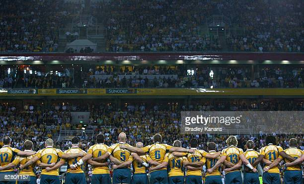 The Wallabies embrace before the 2008 Tri Nations series Bledisloe Cup match between the Australian Wallabies and the New Zealand All Blacks at...