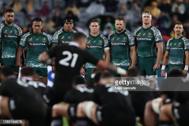 The Wallabies face up to the Haka during the 2020 Tr-Nations and Bledisloe Cup match between the Australian Wallabies and the New Zealand All Blacks...