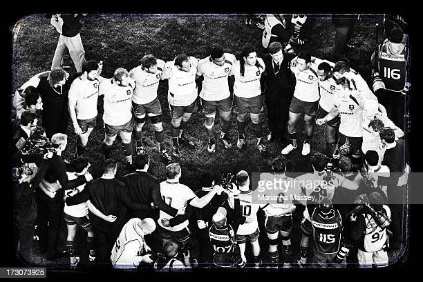 The Wallabies form a team huddle after the match during the International Test match between the Australian Wallabies and the British Irish Lions at...