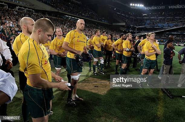 The Wallabies look dejected following their defeat during the 2010 TriNations match between the South African Springboks and the Australian Wallabies...